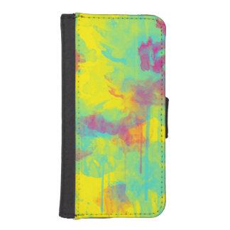 Splatters den abstrakt vattenfärgen för sommar plånboksfodral för iPhone SE/5/5s