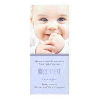 Splittring texturerat pojkefödelsemeddelande 10,2 x 23,5 cm inbjudningskort