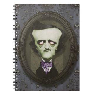 Spökad ZombiePoe-anteckningsbok Anteckningsbok Med Spiral