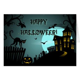 Spökade husblått för happy halloween svart katt hälsningskort