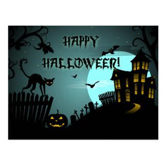 Spökade husblått för happy halloween svart katt vykort