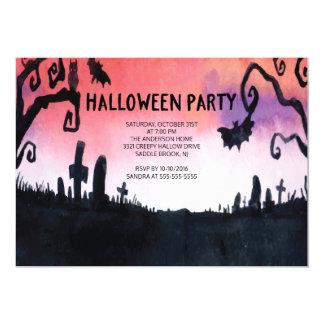 Spökade kyrkogårdhalloween festinbjudningar 12,7 x 17,8 cm inbjudningskort