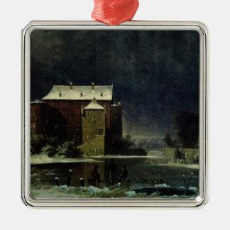 Spökat hus i snön, 1848 julgransprydnad metall