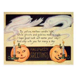 Spökejack o lantern undersöker vintage Halloween Vykort