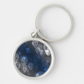 Spöklik döskallar Keychain Rund Silverfärgad Nyckelring