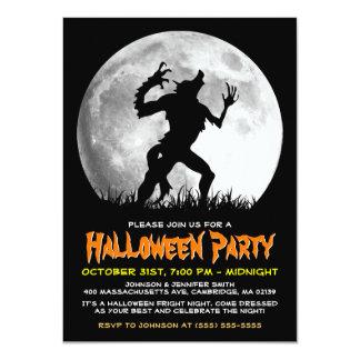 Spöklik Halloween fasaWerewolf på fullmånen 11,4 X 15,9 Cm Inbjudningskort