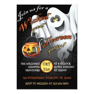 Spöklik halloween festinbjudan med spöken 12,7 x 17,8 cm inbjudningskort