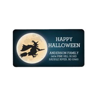 Spöklik häxahappy halloweenreturadress adressetikett