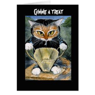 Spöklik katt i Halloween dräktkort eller inbjudan Hälsningskort