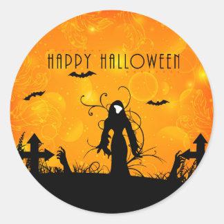 Spöklik kyrkogård för happy halloween runt klistermärke