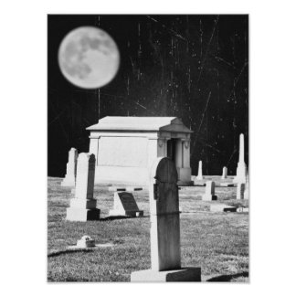 Spöklik kyrkogårdaffisch poster