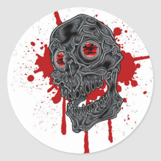 Spöklik Yet fånig droppandeskalledesign Runt Klistermärke