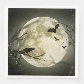 Spöklika kråkor för Halloween måne Papper Servetter