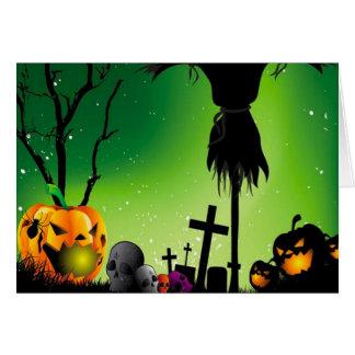 Spöklikt kort för pumpakyrkogårdHalloween