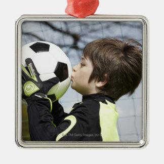 Sportar barn, fotboll julgransprydnad metall