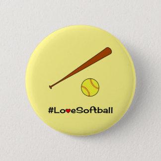 Sportar för hashtag för kärleksoftballgult standard knapp rund 5.7 cm