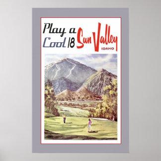 Sportar för vintageSun Valley Golf reser Retro Poster