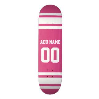 Sportar Jersey med namn och numrerar - rosa vit Skateboard Bräda 21,5 Cm