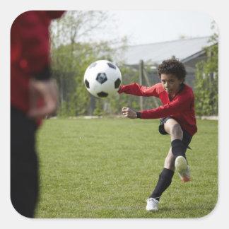Sportar livsstil, fotboll 4 fyrkantigt klistermärke