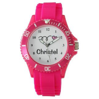 Sportig flickaklocka med personalizable namn armbandsur