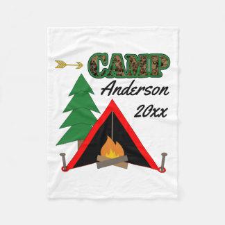 Sportigt campa Campfiretältnamn Fleecefilt