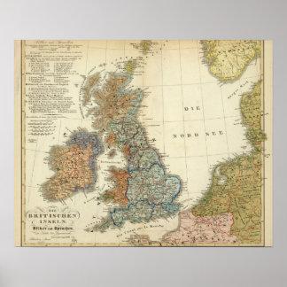 Språklig karta av brittiska Isles Poster