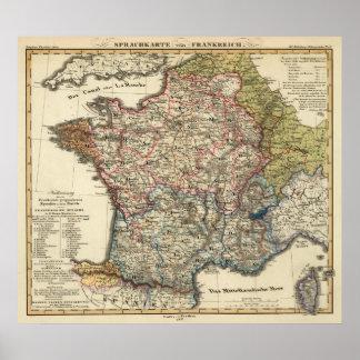 Språklig karta av frankriken poster