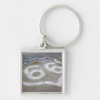 Sprej för rutt som 66 målas på vägen, Alanreed, Fyrkantig Silverfärgad Nyckelring