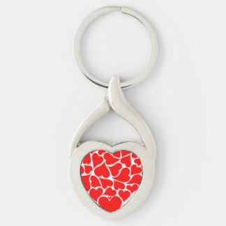 Spridd hjärtavalentines twisted heart silverfärgad nyckelring