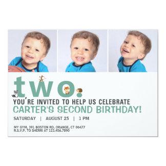 Spridda orddjur understöder födelsedaginbjudan 12,7 x 17,8 cm inbjudningskort
