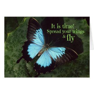 Spridning din vingar och klipska fjäril hälsningskort