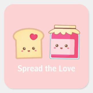 Spridning kärleken med gullig rostat bröd och sylt fyrkantigt klistermärke