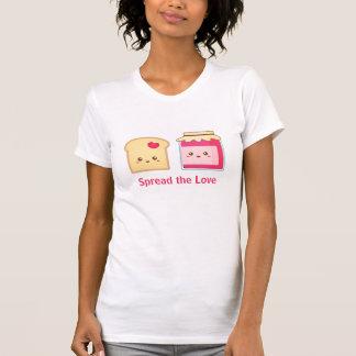 Spridning kärleken med gullig rostat bröd och sylt t shirt
