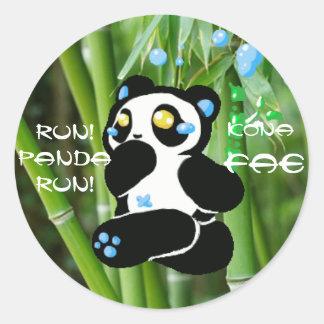 springa panda, springa! runt klistermärke