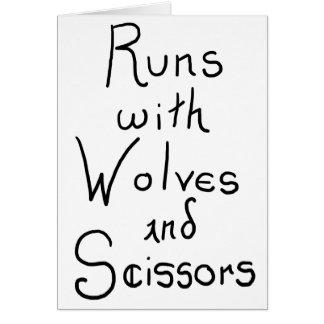 Springor med varger och sax hälsningskort