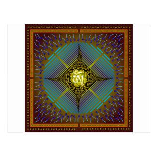 Sq elektriskt guld för design för Mandala för Vykort