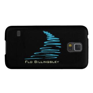 Squiggly Lines_aqua blått på black_personalized Galaxy S5 Fodral