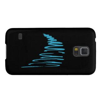 Squiggly Lines_aqua blått på svart Galaxy S5 Fodral