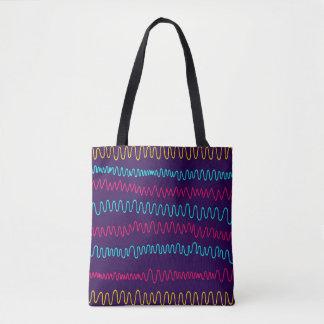 Squiggly linjer för abstrakt purpurfärgad bakgrund tygkasse