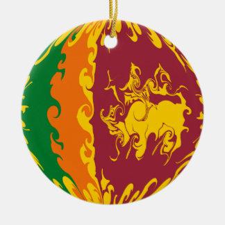 Sri Lanka Gnarly flagga Rund Julgransprydnad I Keramik