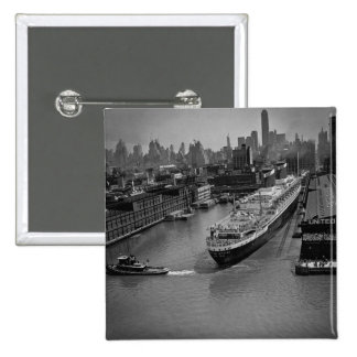 SS United States på pir i New York City Standard Kanpp Fyrkantig 5.1 Cm