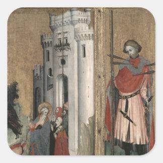 St Andrew som jagar demoner från townen Fyrkantigt Klistermärke
