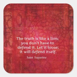 St Augustine inspirera citationstecken på SANNING Fyrkantigt Klistermärke