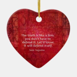 St Augustine inspirera citationstecken på SANNING Hjärtformad Julgransprydnad I Keramik