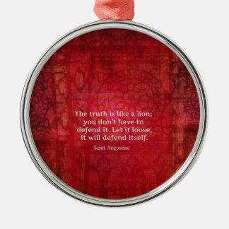 St Augustine inspirera citationstecken på SANNING Rund Silverfärgad Julgransprydnad