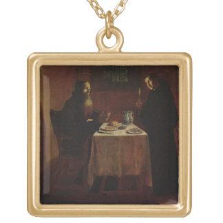 St. Benedict som välsignar St. Maur Halsband Med Fyrkantigt Hängsmycke