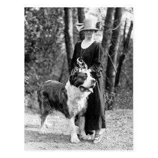 St Bernard & Boston Terrier, 1925 Vykort