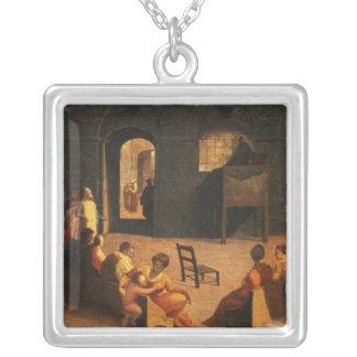 St Bernardino av Siena att predika Silverpläterat Halsband