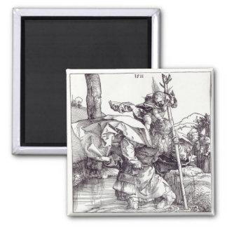 St Christopher som bär den begynna Kristus, 1511 Magnet