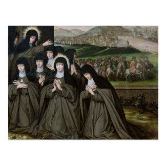 St. Claire med henne syster, Agnes och nunnor Vykort